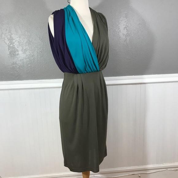 94674032cfb0 Escada Dresses & Skirts - Escada colorblock Draped deep v-neck sheath dress